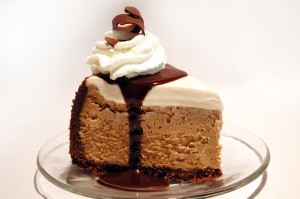 Espresso Cheesecake with Mocha Fudge Sauce
