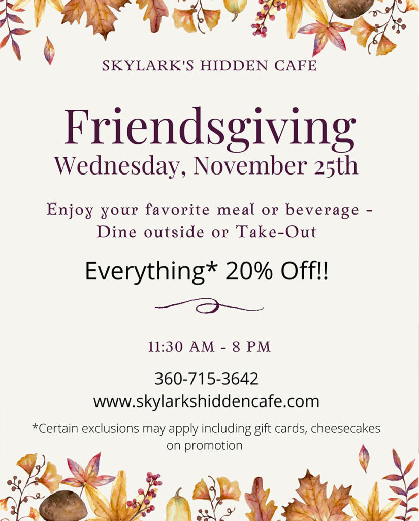 Friendsgiving - 20% OFF your favorite meal or beverage at Skylark's