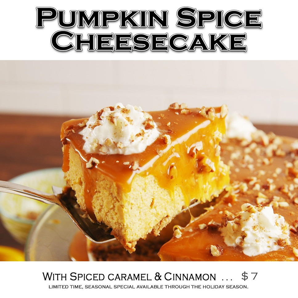 Treat yourself to our Pumpkin Cheesecake